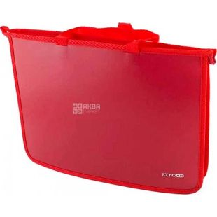 Economix, Plastic A4 briefcase with zipper, red