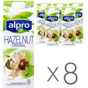 Alpro, Hazelnut Original, Pack of 8 1 L, Soy beverage, Hazelnut, 1.6%