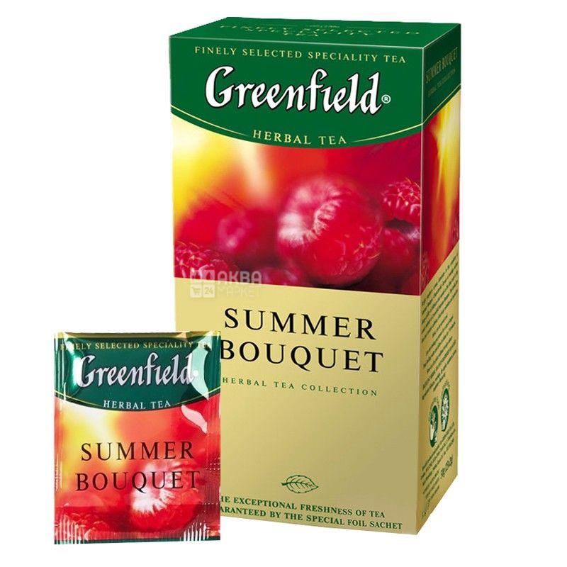 Greenfield,  Summer Bouquet, 25 пак., Чай Гринфилд, Саммер Букет, травяной с малиной