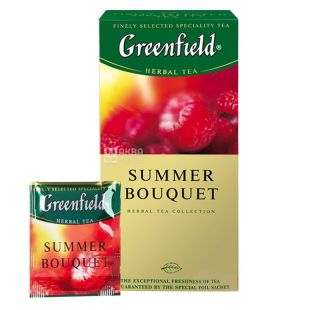 Greenfield, Summer Bouquet, 25 пак., Чай Грінфілд, Саммер Букет, трав'яний з малиною