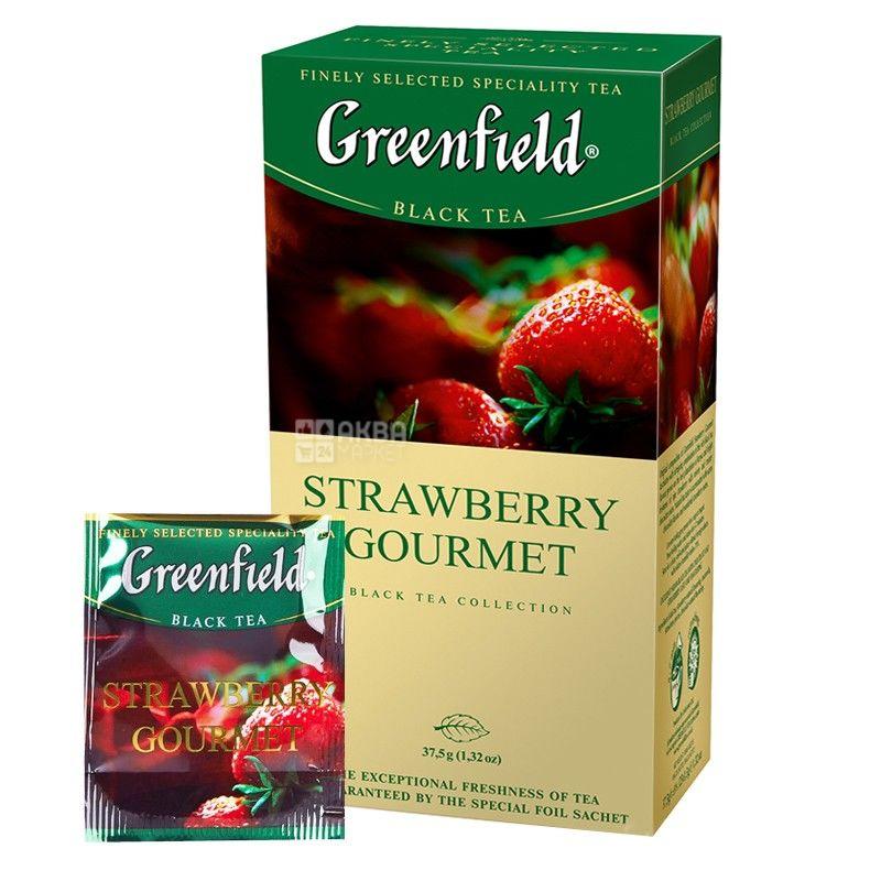 Greenfield, Strawberry Gourmet, 25 пак., Чай Гринфилд, черный с клубникой