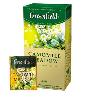 Greenfield, Camomile Meadow, 25 пак., Чай Грінфілд, Камомайл Медоу, трав'яний з ромашкою