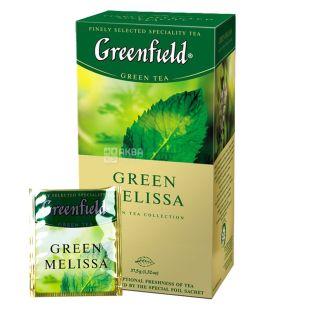 Greenfield, Green Melissa, 25 пак., Чай Гринфилд, Грин Мелисса, зеленый