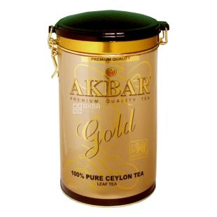 Akbar Gold, 225 г, Чай черный Акбар Голд с молодыми чайными почками, типсами, ж/б