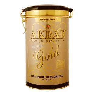 Akbar, 225 г, чай черный,  GOLD, железная банка