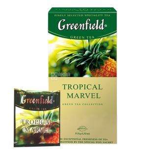 Greenfield, 25 Pieces, Green Tea, Tropical Marvel