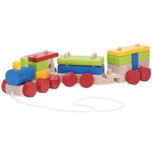 Wonderworld, Конструктор деревянный, Поезд с веревочкой, с 1 года