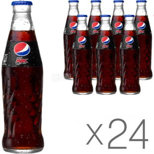Pepsi-Cola max, Упаковка 24 шт, по 0,25 л, Пепси-кола, Вода газированная, без сахара, стекло
