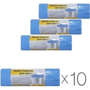 Промтус, Упаковка 10 рул. х 10 шт., 160 л, Пакеты для мусора, без затяжек, прочные, синие