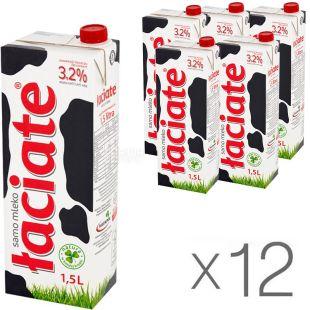 Laciate, Упаковка 12 шт. х 1 л, Лачятэ, Молоко ультрапастеризованное, 3,2 %