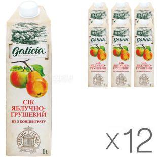 Galicia, Яблоко-груша, Упаковка 12 шт. х 1 л, Сок прямого отжима