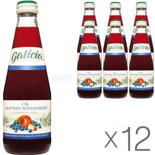 Galicia, Яблоко-черника, Упаковка 12 шт. х 0,3 л, Сок прямого отжима
