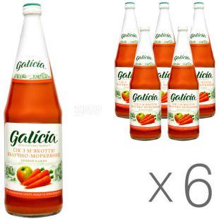Galicia, Яблоко-морковь, Упаковка 6 шт. х 1 л, Сок прямого отжима