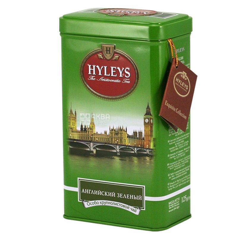Hyleys, 125 г, чай, Английский Зеленый Чай, железная банка