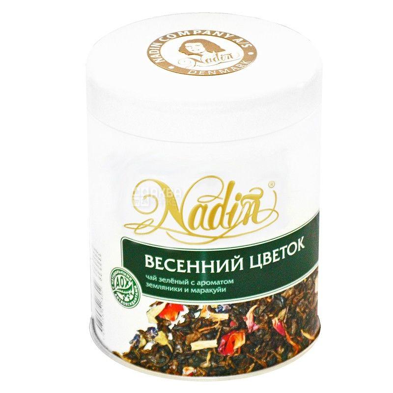 Nadin, Весняна квітка, 200 г, Чай Надін, зелений з ароматом суниці і маракуйї, ж/б