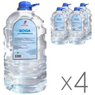 Дистиллированная вода Химэкспресс, Упаковка 4 шт. х 5л, ПЭТ