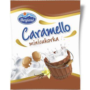 Bergland, Caramello minicukorka, 60 г, Льодяники зі смаком молочної карамелі, без цукру