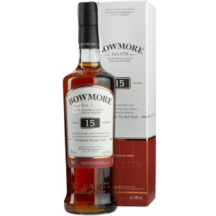 Bowmore 15yo, 0,7 л, Віскі односолодовий, подарункова упаковка