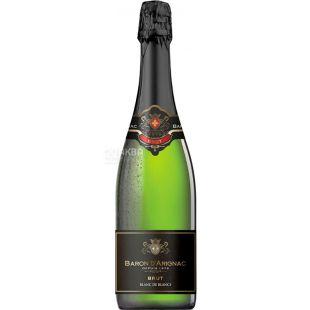 Baron d'Arignac, Brut Blanc de Blancs, 0,75 л, Вино біле ігристе, брют