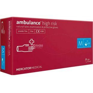 Ambulance High Risk, 50 шт, Рукавички латексні нестерильні, непудровані, сині, розмір M