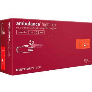 Ambulance High Risk, 50 шт, Рукавички латексні нестерильні, непудровані, сині, розмір L