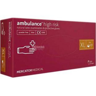 Ambulance High Risk, 50 шт, Рукавички латексні нестерильні, непудровані, сині, розмір XL