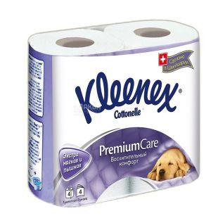 Kleenex Premium Comfort, 4 рул., Туалетний папір Клінекс Преміум Комфорт, 4-х шаровий