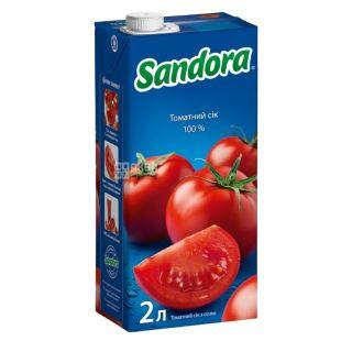 Sandora, Томатный, 2 л, Сандора, Сок натуральный, с солью