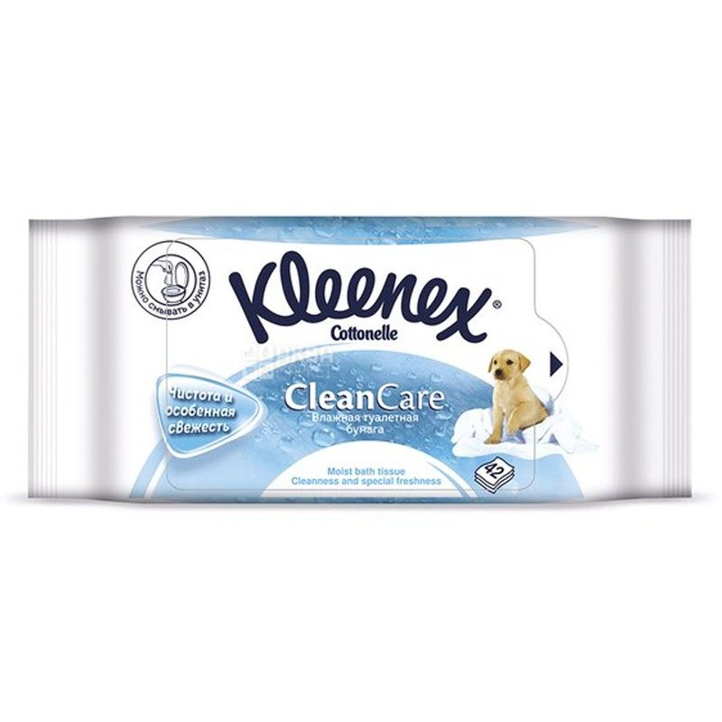 Kleenex, Clean Care, 42 листа, Туалетная бумага Клинекс, Влажная