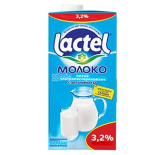 Lactel, 1 l, 3,2%, Milk, Ultrapasteurized, With vitamin D