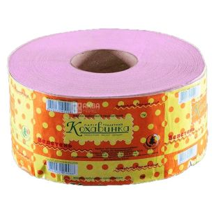 Кохавинка, туалетная бумага, Джамбо, розовая, однослойная