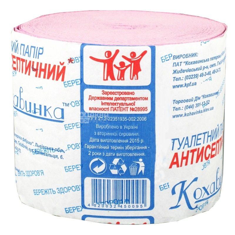 Кохавинка, 1 рул., Туалетний папір, Антисептическая, 1-шаровий