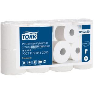TORK, 8 рулонов, туалетная бумага, Двухслойная, м/у