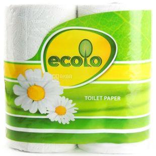 Ecolo, 4 рул.,Туалетная бумага Эколо, 2-х слойная