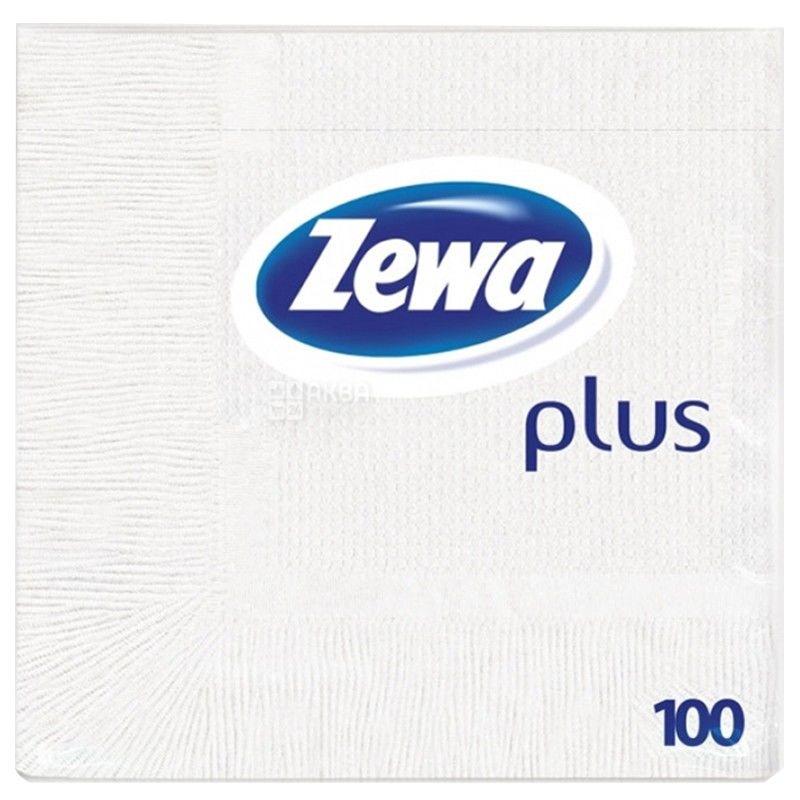 Zewa Plus, 100 шт., Салфетки столовые, Зева плюс, однослойные, 33х33 см, белые