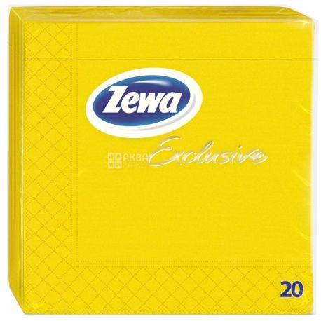 Zewa Exclusive, 20 шт., Салфетки столовые Зева Эксклюзив, 3-х слойные, 33×33 см, желтые