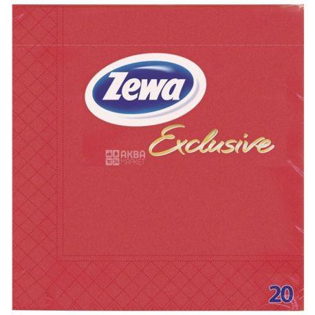 Zewa, 20 шт., 33×33 см, салфетки, Трехслойные, Exclusive, Красные, м/у