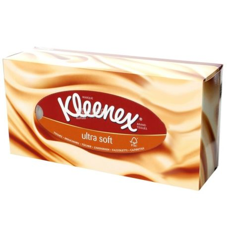 Kleenex Ultra Soft, 56 шт., Салфетки косметические Клинекс, супер мягкие, 3-х слойные, белые