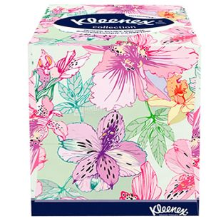 Kleenex Cube Collection XL, 100 шт., Салфетки косметические Клинекс Коллекшн, 2-х слойные, 22х22 см, белые
