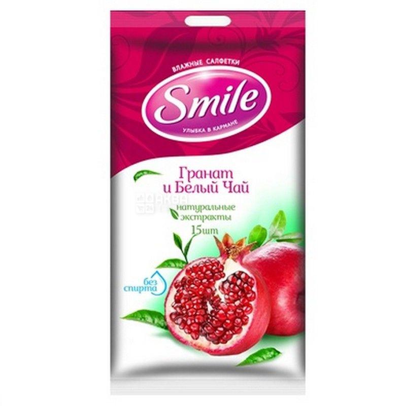 Smile, 15 шт., Серветки вологі Смайл, Гранат і білий чай, для догляду за шкірою