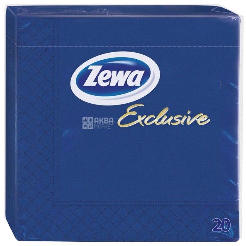 Zewa, 20 шт., 33×33 см, салфетки, Трехслойные, Exclusive, Синие, м/у