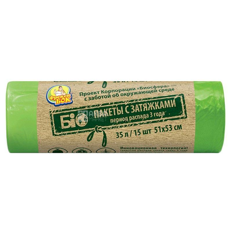 Фрекен Бок, 15 шт., 35 л, Пакети для сміття, Біо, із затягуваннями, міцні, зелені