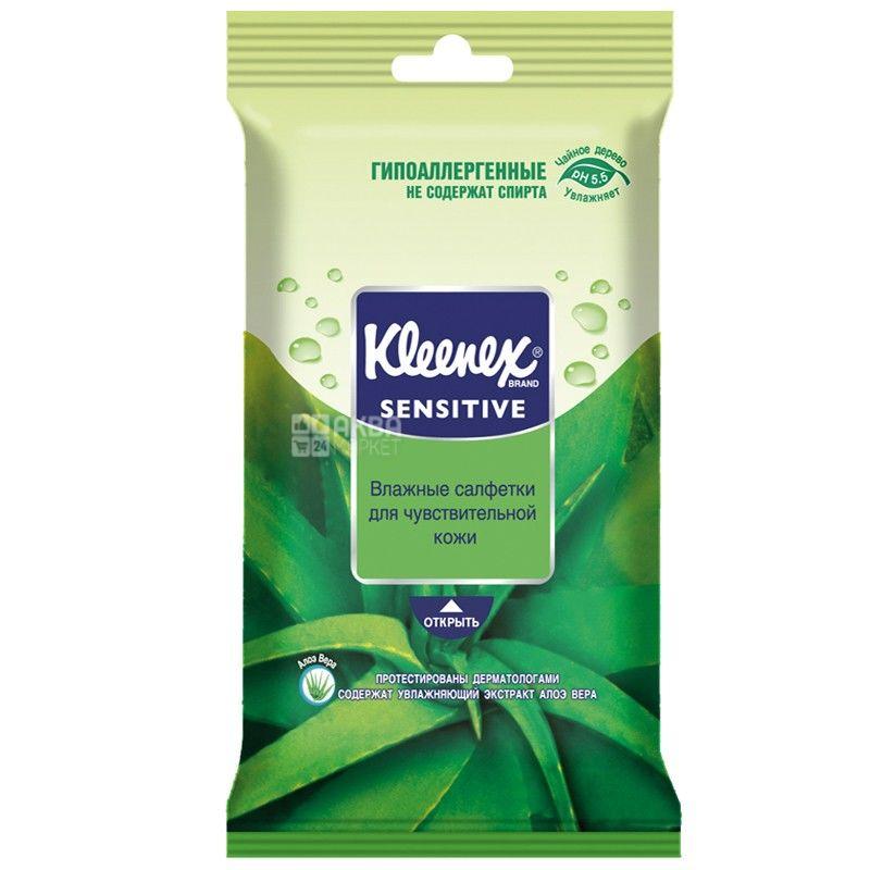 Kleenex, 10 шт., вологі серветки, Алоэ Вера, Protect, м/у