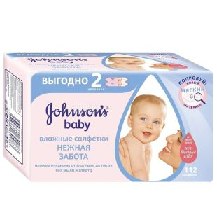 Johnson`s Baby, 112 шт., Серветки вологі Джонсонс Бейбі, Ніжна турбота, Дитячі, для догляду за шкірою