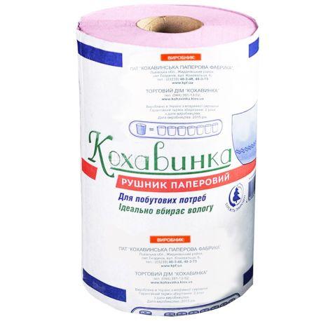 Кохавинка, 1 рул., Бумажные полотенца, однослойные, 50 м, 360 отрывов, 11х11 см
