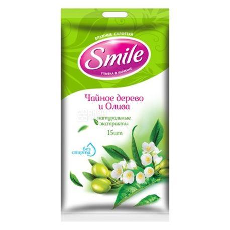 Smile, 15 шт., Серветки вологі Смайл, Чайне дерево і олива, для догляду за шкірою