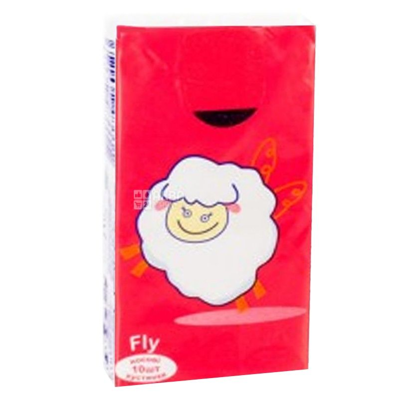 Mirus, 10 pcs., 19x20 cm, handkerchiefs, Three-ply, Fly Red, m / s