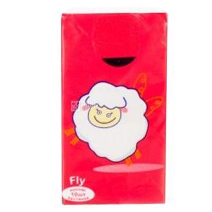 Mirus Fly Red, 10 шт., Платки носовые бумажные Мирус Флай Ред, 3-х слойные