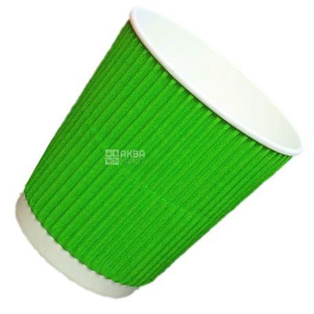 Промтус Стакан бумажный гофрированный зеленый 110 мл, 30 шт, D60
