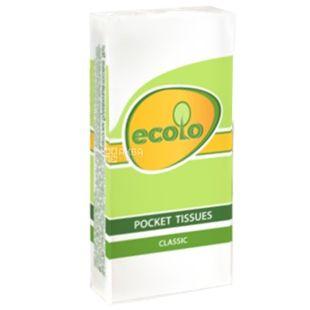 Ecolo, 9 шт., Хусточки носові паперові Еколо, 2-х шарові, Білі